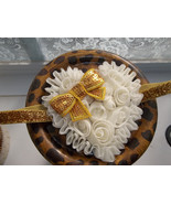 NEWBORN BABY GIRL GOLD HEADBAND WITH IVORY SHABBY HEART AND GOLD SEQUIN BOW - $7.99
