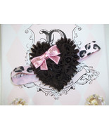 BABY GIRL PINK & BROWN LEOPARD PRINT HEADBAND WITH BROWN SHABBY HEART - $7.99