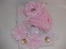 Baby Girl Small Pink Lacy Bloomers, Headband, Barefoot Sandals & Pearls - $18.00