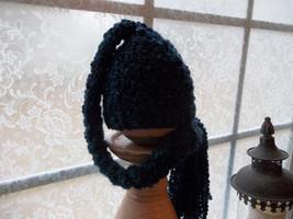 NEWBORN BABY BOY BLUE/GREEN BEANIE HAT WITH LONG BRAIDED TAIL - $14.00