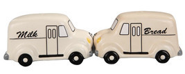 BREAD AND MILK DELIVERY TRUCKS MAGNETIC SALT PEPPER SHAKERS SET - $11.87