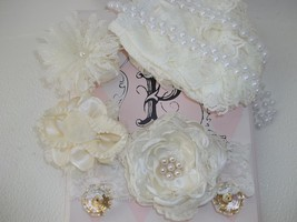 Newborn Baby Girl Ivory Bloomers, Headband, Barefoot Sandals, Pearls - $12.00