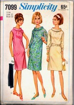 60s Size 12 Bust 32 No Side Seams Dress Bias Roll Collar Simplicity 7099... - $9.99