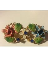 Vintage Austria Signed Rhinestone Enameled Flower Brooch Pin - $24.18