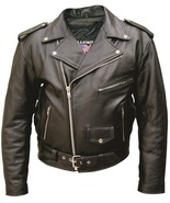 Allstate Leather Mens Motorcycle Jacket in Split Plain Cowhide Leather A... - $58.00