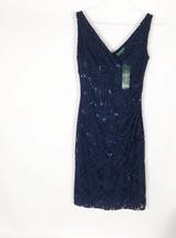 Lauren By Ralph Lauren NWT Dark Blue Womens Size 4 Lace Sheath Dress $169 - $68.31