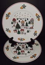 2 Direct Source Int'l Christmas Village Scene Holly Bells Sleigh Dinner ... - $29.69