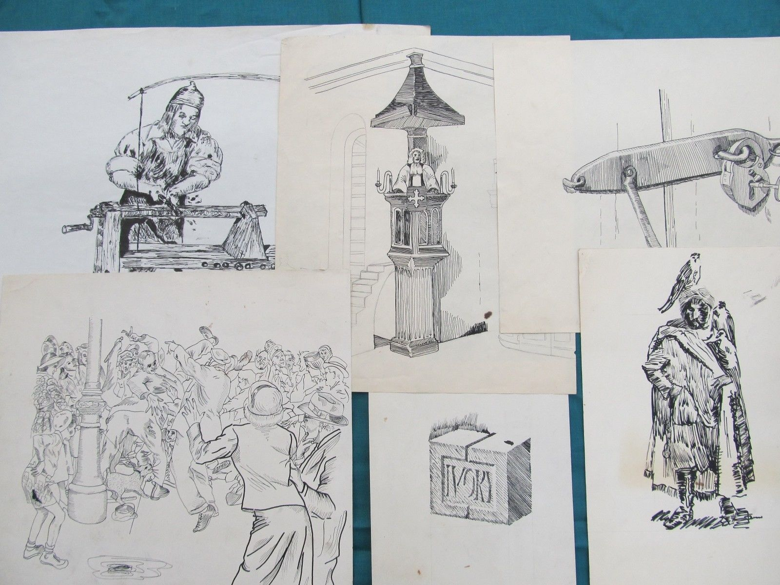 Collection Of 25+ Original 1960's & 70's Art Student Pencil Sketches Signed Lot