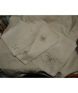Early 20th Century Linen Hand Embroidered Cutwork 6 Placemats 6 Napkins ... - $125.00