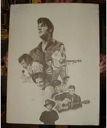 1978 ELVIS Tribute Thru the Years Able Art Print Signed by Chaplan - $50.00