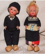 Pair 1920-30s Celluloid Dutch COSTUME DOLLS w/ Wooden Shoes Holland Neth... - $65.00