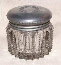 Antique 1890s+ VANITY JAR Pewter Top Notched Prism Zipper Cut Crystal - $75.00