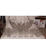 RARE HEISEY PURITAN aka Colonial #341 Punch Set Bowl w/ 23 cups & Glass ... - $475.00