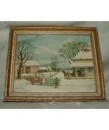 "Vintage Currier & Ives HOME FOR CHRISTMAS 4""x5"" Chromolithograph Gilt Frame - $30.00"