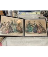 1863 Pair Antique Godey's Fashions February & March Hand Tinted Framed P... - $125.00