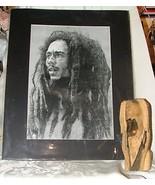 VINTAGE Bob Marley Print & Wood Carving Bust Statue - $125.00