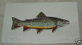 SIGNED Thomas Zotos Hand Colored Print BROOK TROUT Original from Copper ... - $135.00
