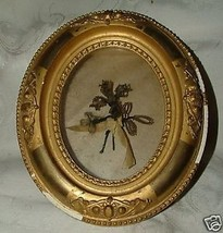 Victorian Woven HAIR PICTURE Gilt Gesso Wood Shadowbox Frame - $235.00