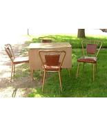 1950s Walter of Wabash Kitchen Set Formica Drop Leaf Table & 4 Wire Back... - $550.00