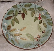 "Pair ND China Hand Painted 12"" CHARGERS Plates Leaves Fruit Nuts Berries... - $70.00"