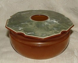 1920s Celluloid Hair Receiver Green Luster Top Amber Base Art Deco - $20.00