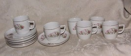WHITE ROSE & THISTLE Pattern 6 Demitasse Cups & Saucers Porcelain Made i... - $36.00