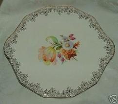 Royal China WALDORF Cake Plate 1940s Gilt Floral Elegant - $30.00