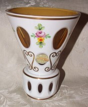 Vintage Czechoslovakia Bohemian Glass VASE White Cut to Cased Amber with LABEL - $145.00