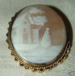 Primary image for Antique Rebecca at the Well Shell Cameo 14k Gold Bezel