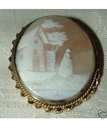 Antique Rebecca at the Well Shell Cameo 14k Gold Bezel - $325.00