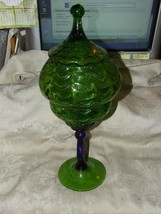 1960s Phoenix Consolidated Green & Cobalt Blue Huge TALL COVERED COMPOTE - $125.00