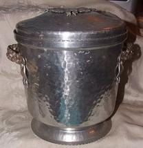 VINTAGE Hammered Aluminum Art Deco Era Ice Bucket Elaborate Floral Trim ... - $85.00