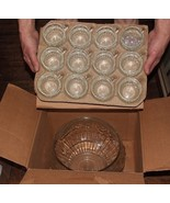 Jeannette FRUIT 26pc Crystal PUNCH SET Bowl 12 Cups 12 Hooks & Ladle in BOX - $55.00