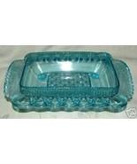 EAPG 1890s Aqua Blue Butter Honey BASE Co-Operative Flint Glass #101 Cross Fern - £22.80 GBP