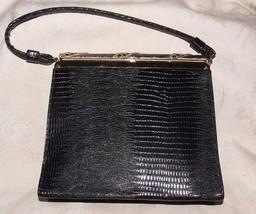 VINTAGE 1960s AFTER FIVE 5 Made in USA Black Leather Handbag Purse Dress... - $185.00