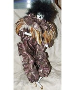 1992 Brinn's Mardi Gras Fantasy Doll Feathers Purple Metallic Fabric Stand - $35.00