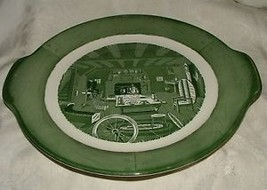 "Vintage 1940s-50 COLONIAL HOMESTEAD Royal China Green 12"" Lug Handled Ca... - $18.00"