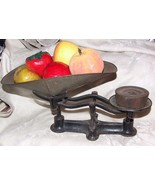Antique Cast Iron Counter Balance Scale with 2 pound weight & Tin Scoop - $245.00
