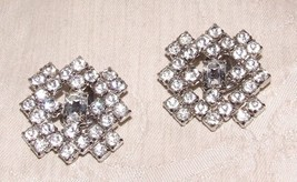 Vintage Pair KNOCKOUT Rhinestone Square Clip Earrings 56 Prong Set Stones - $85.00