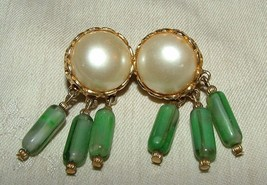 LOVELY 1950s Clip Earrings Faux Mabe Pearl with Green Faux Jade Glass Da... - $45.00
