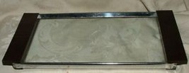 1950s Teak Wood & Glass Small Serving Tray LOVE... - $24.74