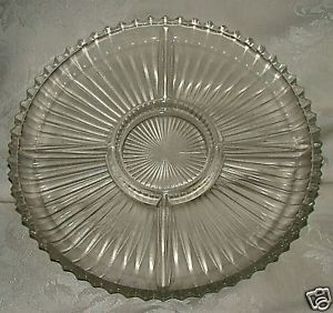"Primary image for Heisey Ridgeleigh or Fenton Sheffield 10"" 5 part relish Clear"