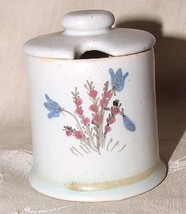 BUCHAN Scotland Stoneware MUSTARD Pot with Lid Wildflowers Blue Bells & ... - $24.74