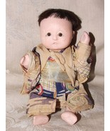 1920s Chalkware Oriental Asian Japanese Silk COSTUME DOLL Glass Eyes Rea... - $65.00