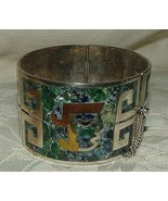 NESTOR STERLING Taxco Mexico Cuff Hinged Bangle Bracelet Inlaid Turquois... - $275.00
