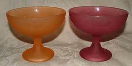 PAIR Flashed Frosted Pedestal Sundae Dishes Raspberry and Orange - $20.00