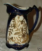 VICTORIAN Staffordshire Cobalt & Cream Hand Gilt Large Pottery Pitcher - $135.00