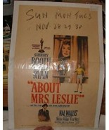 1954 ABOUT MRS LESLIE Movie Poster Window Card Shirley Booth Robert Ryan - $25.00