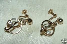 1956-77 ALICE Goldtone Caged Rhinestone Screwback Earrings - $25.00