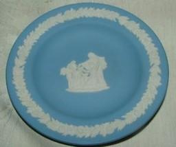 "Wedgwood Jasperware Cream Lavender Blue Round 4"" Round Tray Cupid - $16.00"